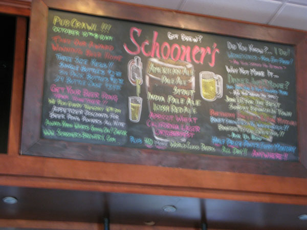 The beer list at Schooners