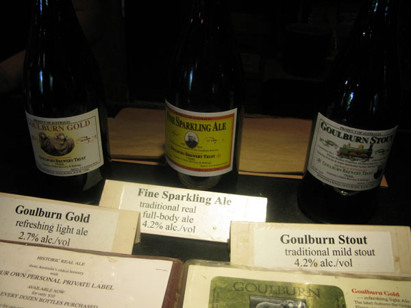 The beer choices at Goulburn Brewery